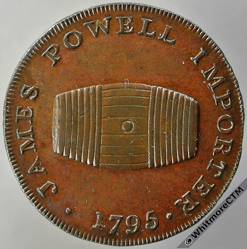 18th Century Halfpenny Monmouth 3 1795 J.Powell. Cask / Wine & brandy merchant.
