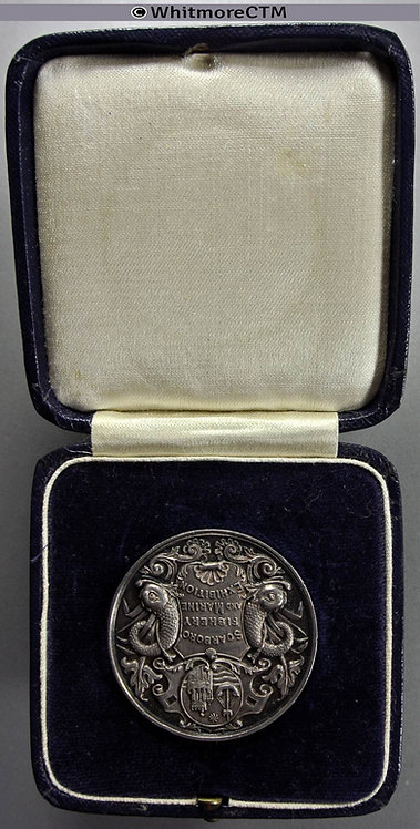 Scarborough Fisheries & Marine Exhibition Medal 38mm Silver Cased. Not in Allen