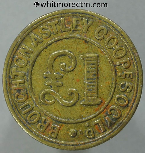 Broughton Astley Leicestershire Co-Operative Society Token 22mm £1 - Brass
