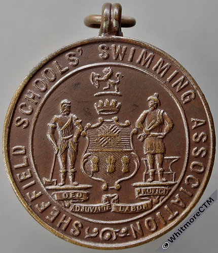 Sheffield Schools Athletic Association medal 29mm Diver. Bronze with suspender