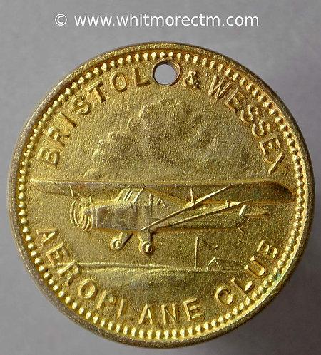 Ticket Pass Token 26mm Bristol & Wessex Aeroplane Club Monoplane / Stamped 28
