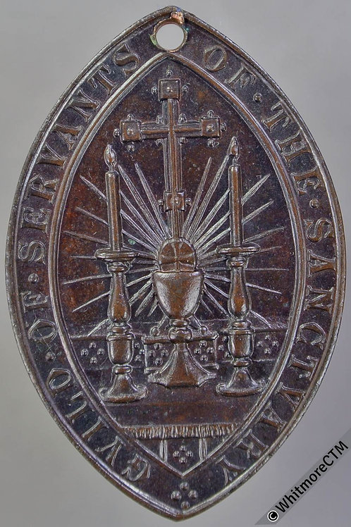 Guild of the Sanctuary. Pelican in its Piety Medal 38x25mm Lens shaped bronze