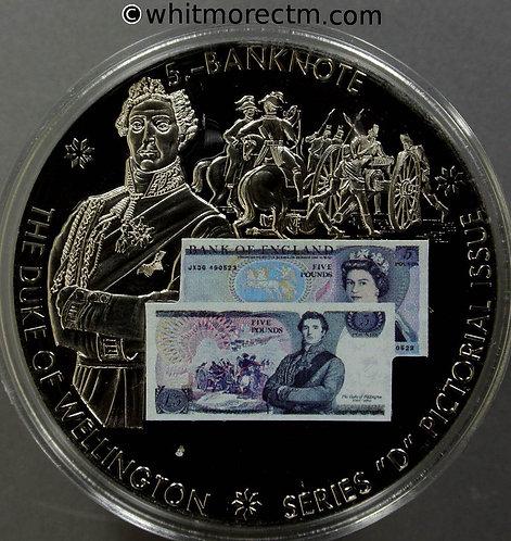 1980 British Banknote £5 Series D Medal 50mm Duke of Wellington -Cupro-nickel