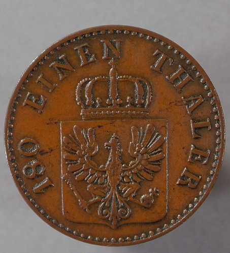 1857 Germany Prussia C143b 2 Pfennig coin 1857A