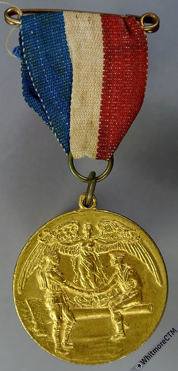 Bournemouth 1919 Peace Medal 32mm Gilt brass with suspender, rings, ribbon & pin