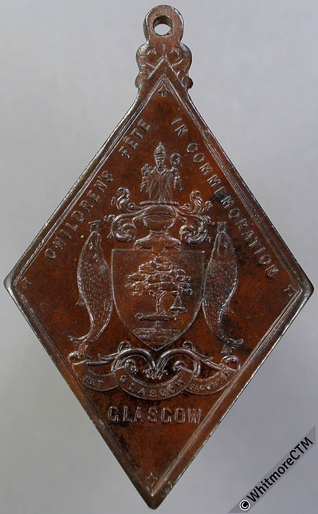 Glasgow 1897 Victoria Diamond Jubilee Medal 33x52mm WE3538C4 Piefort Bronze