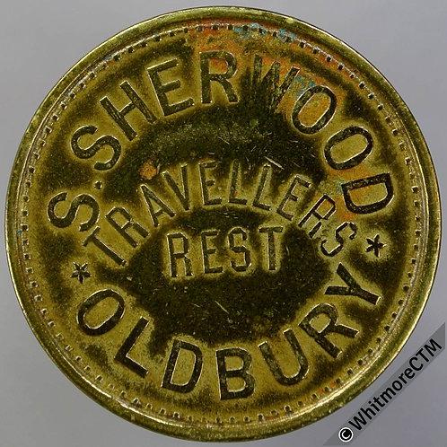 Oldbury Inn / Pub Token W9512 3D S.Sherwood. Travellers Rest. Unpierced