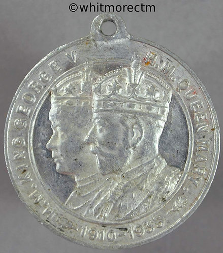 1935 Silver Jubilee George V medal 32mm By Fattorini - Aluminium with suspender