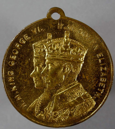 West Hartlepool 1937 Coronation Medal 33mm George VI Gilt brass with suspender