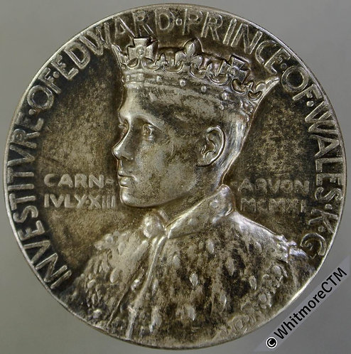 1911 Investiture of Prince of Wales Medal 35mm B4079 Welsh legend. Silver