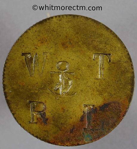 26mm Value Stated Token W T R L around fouled anchor Elaborate 2D in wreath