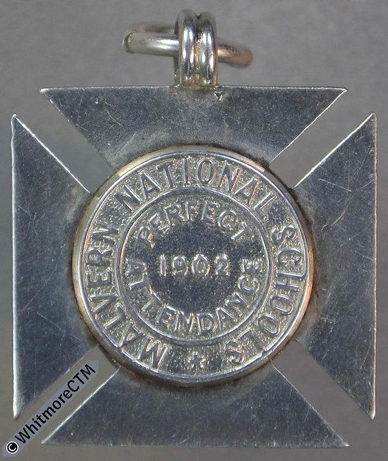1902 Malvern National School Medal 24mm D1320 Uniface Maltese cross silver