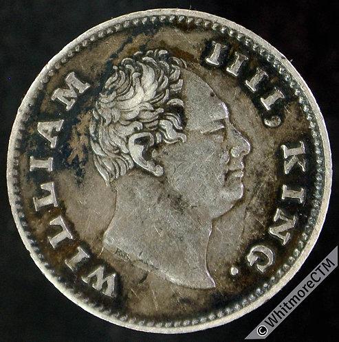 1835C India Quarter Rupee S&W 1.61 - RS Hindi value. Rare