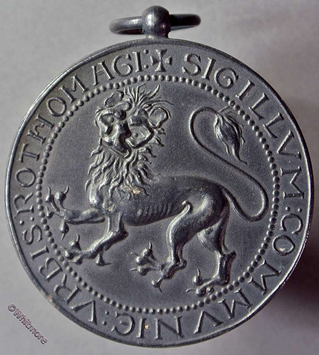 1911 France Millenary of Rouen-Lion Medal 36mm Silvered bronze + suspender