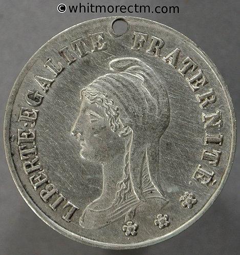1886 Peru / France Fete national Medal 23mm Silver. Pierced