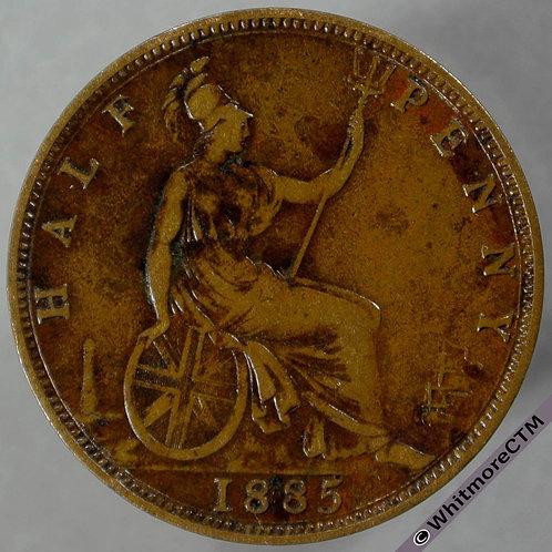 1885 British Bronze Halfpenny - Victoria Bun Head