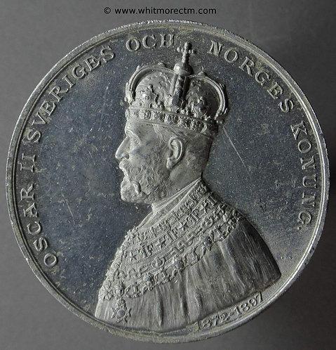 1897 Sweden Silver Jubilee of Oscar II Medal 45mm Aluminium