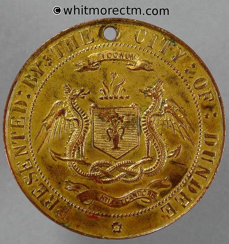 Dundee 1911 Coronation Medal 32mm WE5217 Gilt Bronze. Pierced.