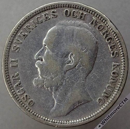 1890 Sweden 2 Kronor Y30 Silver