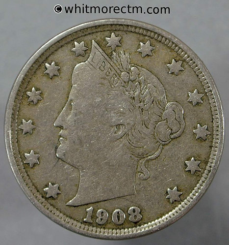 1908 USA 5 Cent coin Liberty Nickel