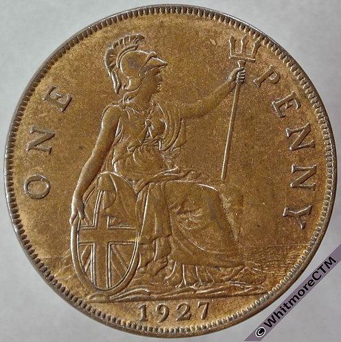 1927 British Bronze Penny George V - 10% Luster