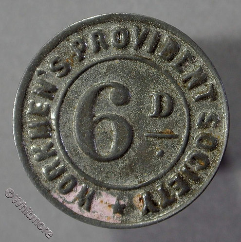 Co-Operative Society Token Middleton-in-Teesdale 21mm Workmen's Provident 6d