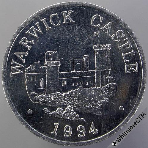 """Warwick Castle 1994 Medal 25mm Arm holding sword """"Kingmaker"""" Cupro-nickel"""