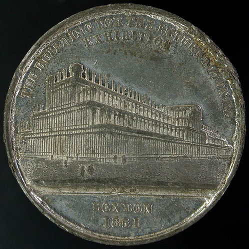 """1851 Crystal Palace """"The construction is of iron"""" Medal 27mm B2433 Allen & Moore"""