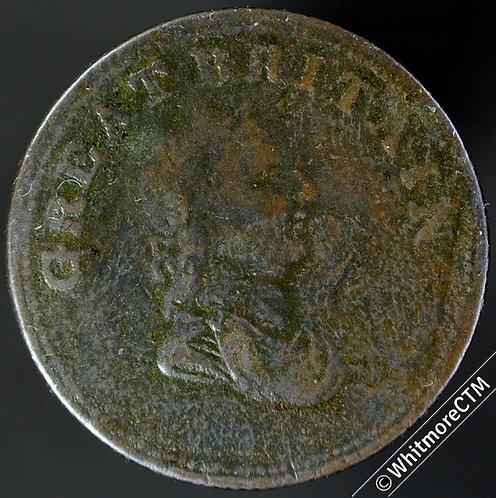 """19th Century HalfPenny Non Local 1408 1814 Great Britain""""/ Seated female - Rare"""