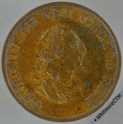 1799 Copper Halfpenny George III - 6 raised gunports