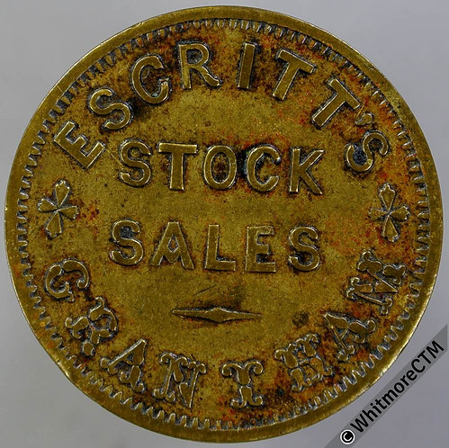 Value stated Token Grantham 28mm 1½D Escritts Stock Sales. By W.J.Taylor Bronze