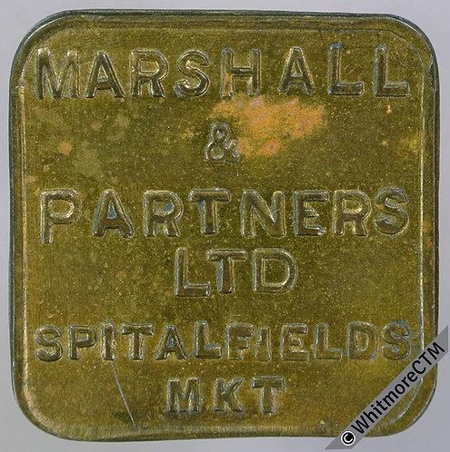 Market Token Spitalfields 26mm 2s Marshall & Partners Ltd. Square brass