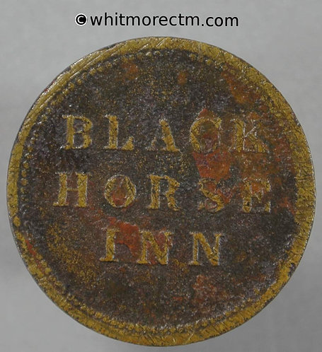 Unlocated Inn / Pub Token Black Horse Inn 1½D - found in Honiton Devon
