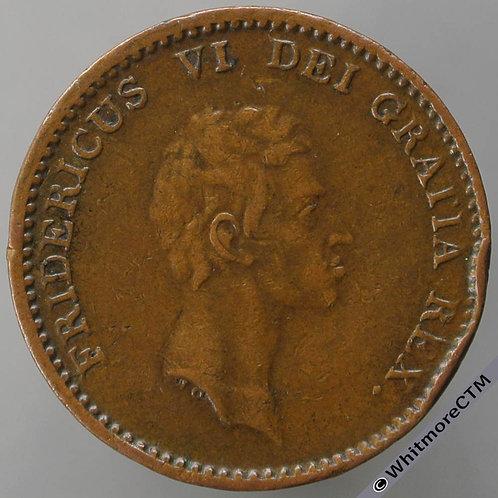1813 Denmark 1 Rigsbank skilling C93 Edge Knock
