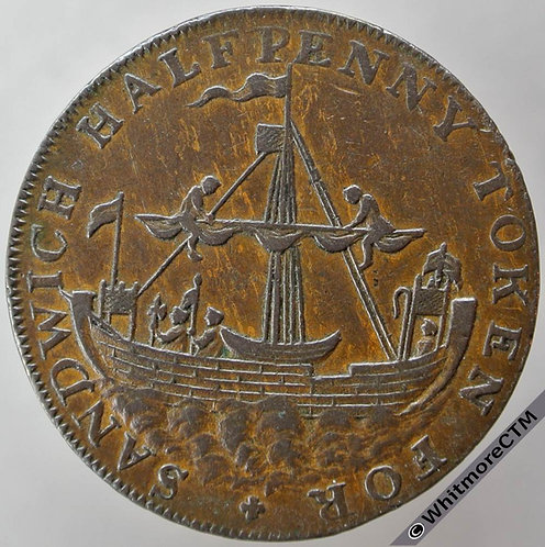 18th Century Halfpenny Sandwich 39 Ancient sloop / Arms. Thomas Bundocks edge