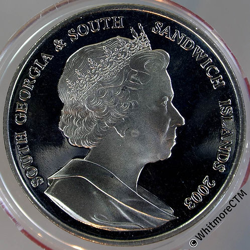 2003 South Georgia & South Sandwich Islands £2 Crown. Silver proof capsulated