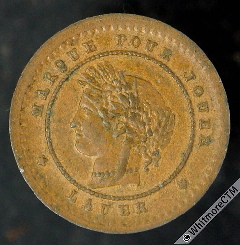 France Model / Toy Coin 13mm. 1 Centime by Lauer - Rogers 1612 Extremely Rare