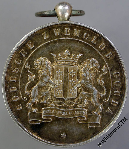 Netherlands early 1900's Gouda Swimming Club Medal 28mm Silver with suspender
