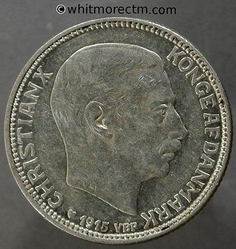 1915 Denmark Y38 1 Krone coin - Silver