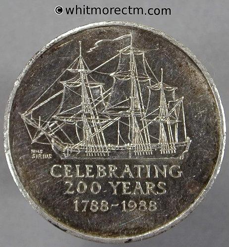 1988 Australia Bicentenary View of HMS Sirius Medal 25mm Silver