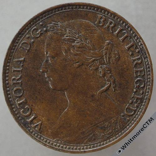 1879 British Bronze Farthing Victoria Bun Head.