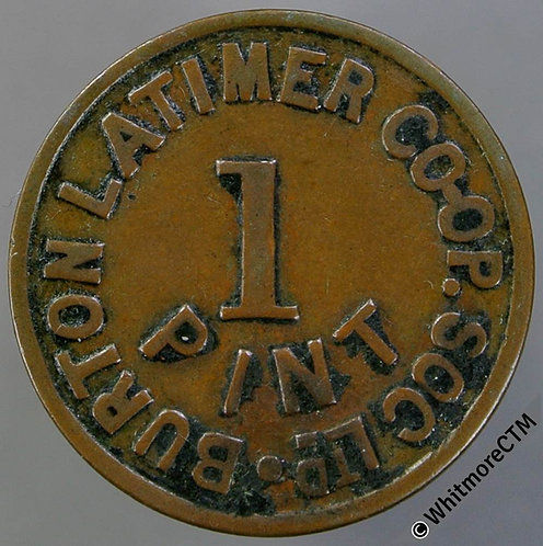 Co-Operative Society Token Burton Latimer 22mm 1 Pint - Uniface - Copper.