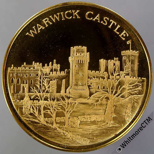 Warwick View of castle / Knight in armour Medal 38mm Gilt bronze