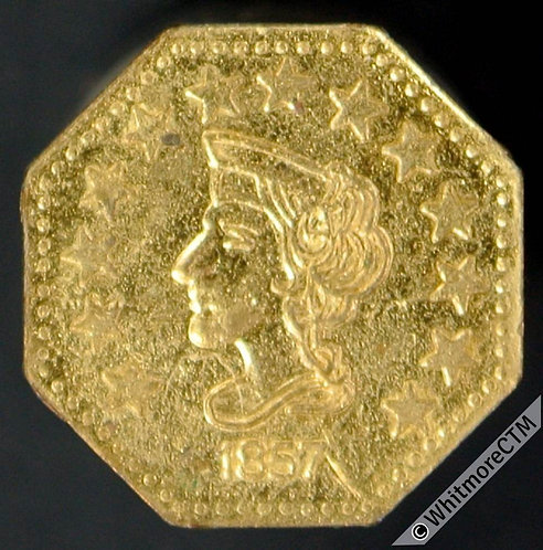 USA Model / Toy coin 12mm 1857 Liberty Head / California Gold 1/2 - Rogers 2478a