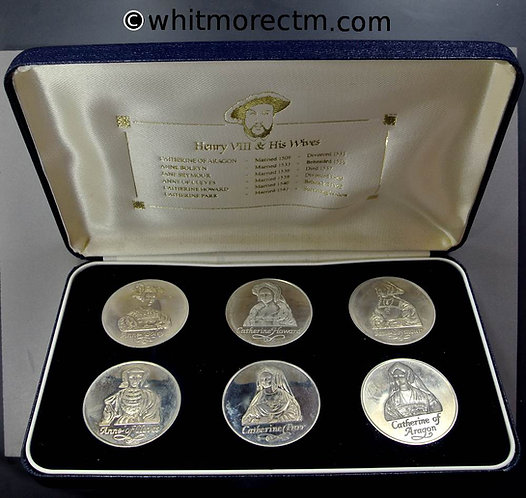 Henry VIII Medals 38mm - Set of Six depicting all queens shown in case - Cupro-nickelCased