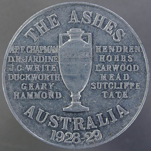 Cricket 1928-29 Ashes in Australia Medal Names of English squad & Urn. J.R.Gaunt
