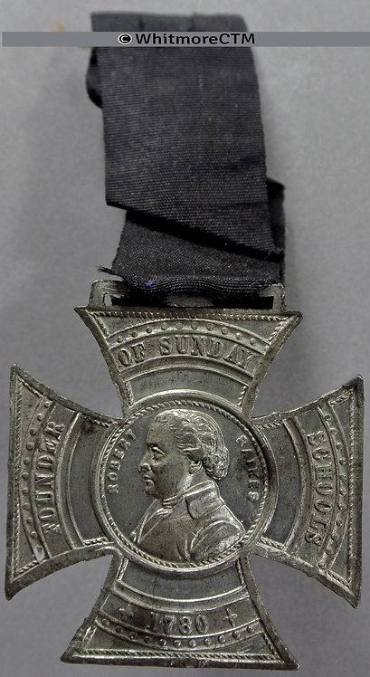 Manchester 1880 Centenary of Sunday Schools Medal 35mm Cruciform white metal