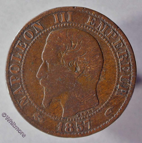1857 France Y16 5 Centimes coin 1857A