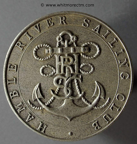 Hamble Hampshire River Sailing Club Medal 39mm Monogram Anchor - Silvered Bronze