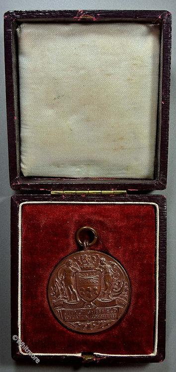 Sheffield School 4 years punctual attendance Medal 35mm D1880 Bronze Cased